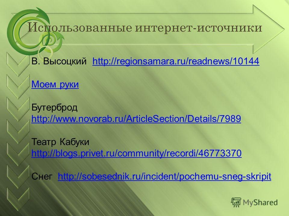 Использованные интернет-источники В. Высоцкий http://regionsamara.ru/readnews/10144http://regionsamara.ru/readnews/10144 Моем руки Бутерброд http://www.novorab.ru/ArticleSection/Details/7989 http://www.novorab.ru/ArticleSection/Details/7989 Театр Каб