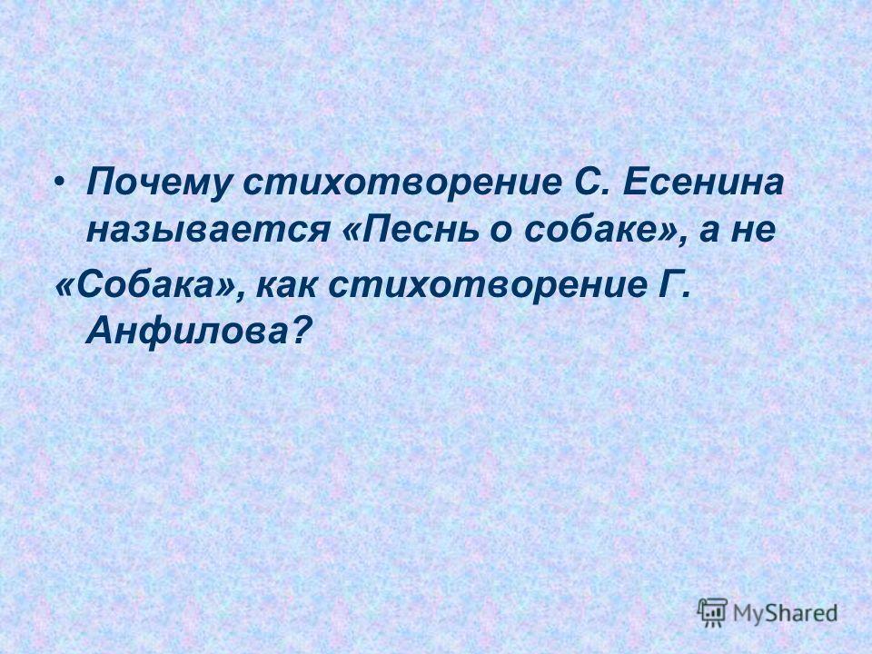 Почему стихотворение С. Есенина называется «Песнь о собаке», а не «Собака», как стихотворение Г. Анфилова?