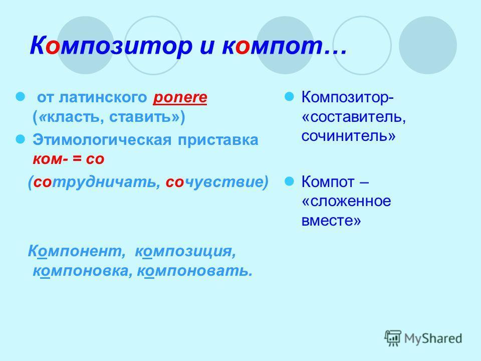 Композитор и компот… от латинского ponere («класть, ставить») Этимологическая приставка ком- = со (сотрудничать, сочувствие) Компонент, композиция, компоновка, компоновать. Композитор- «составитель, сочинитель» Компот – «сложенное вместе»