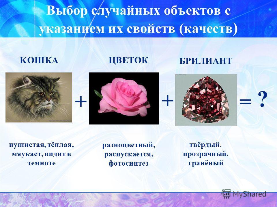 Выбор случайных объектов с указанием их свойств (качеств ) пушистая, тёплая, мяукает, видит в темноте + + разноцветный, распускается, фотосинтез твёрдый. прозрачный. гранёный KOШКA ЦВЕТОК БРИЛИАНТ = ?