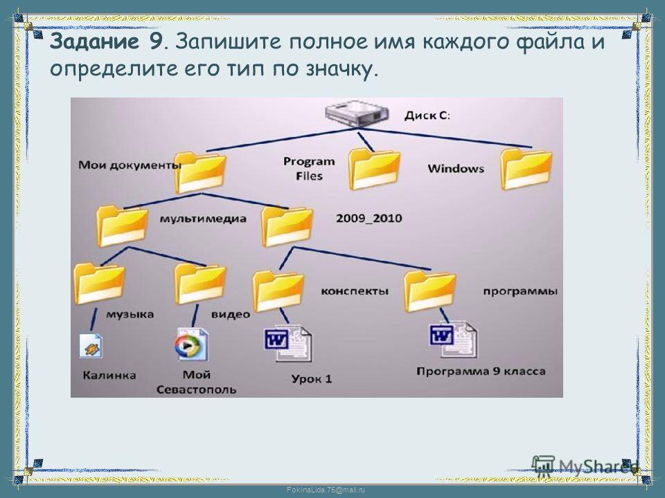 FokinaLida.75@mail.ru Задание 9. Запишите полное имя каждого файла и определите его тип по значку.