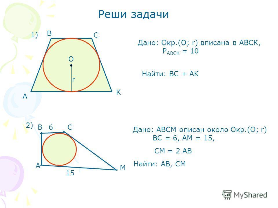Реши задачи Дано: Окр.(О; r) вписана в АВСК, Р АВСК = 10 А В С К О r 1) Найти: ВС + АК 2) А ВС М 6 15 СМ = 2 АВ Найти: АВ, СМ Дано: АВСМ описан около Окр.(О; r) BC = 6, AM = 15,