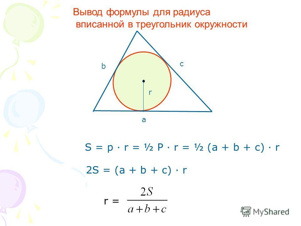 r a b c r = S = p · r = ½ P · r = ½ (a + b + c) · r 2S = (a + b + c) · r Вывод формулы для радиуса вписанной в треугольник окружности