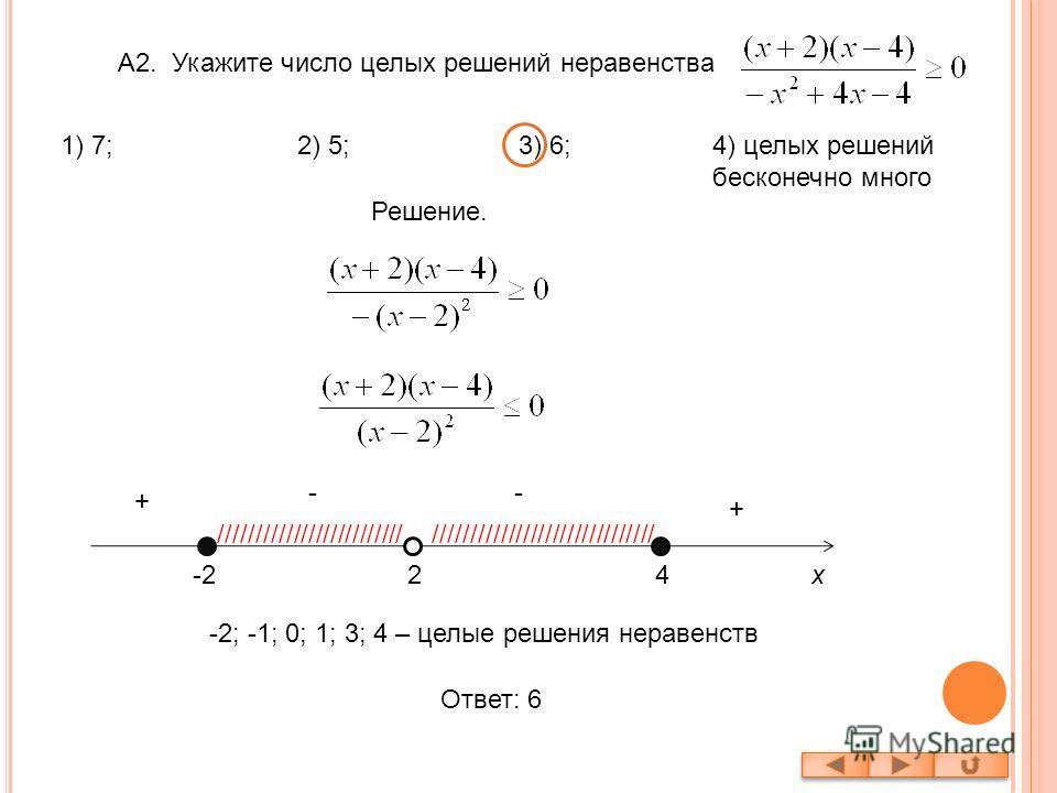 А2. Укажите число целых решений неравенства Решение. -2-224 - + - + /////////////////////////////////////////////////////// -2; -1; 0; 1; 3; 4 – целые решения неравенств Ответ: 6 x 1) 7; 2) 5; 3) 6;4) целых решений бесконечно много