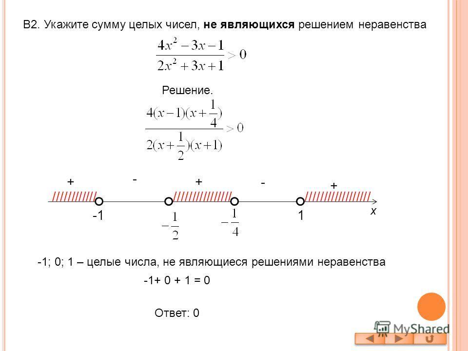 В2. Укажите сумму целых чисел, не являющихся решением неравенства Решение. 1 -+ - + //////////////////////////// + x ////////////////// -1; 0; 1 – целые числа, не являющиеся решениями неравенства -1+ 0 + 1 = 0 Ответ: 0