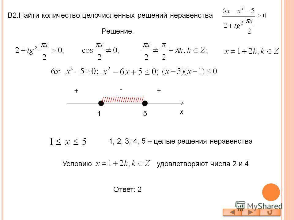 В2.Найти количество целочисленных решений неравенства Решение. 15 x - ++ //////////////////// 1; 2; 3; 4; 5 – целые решения неравенства Условиюудовлетворяют числа 2 и 4 Ответ: 2
