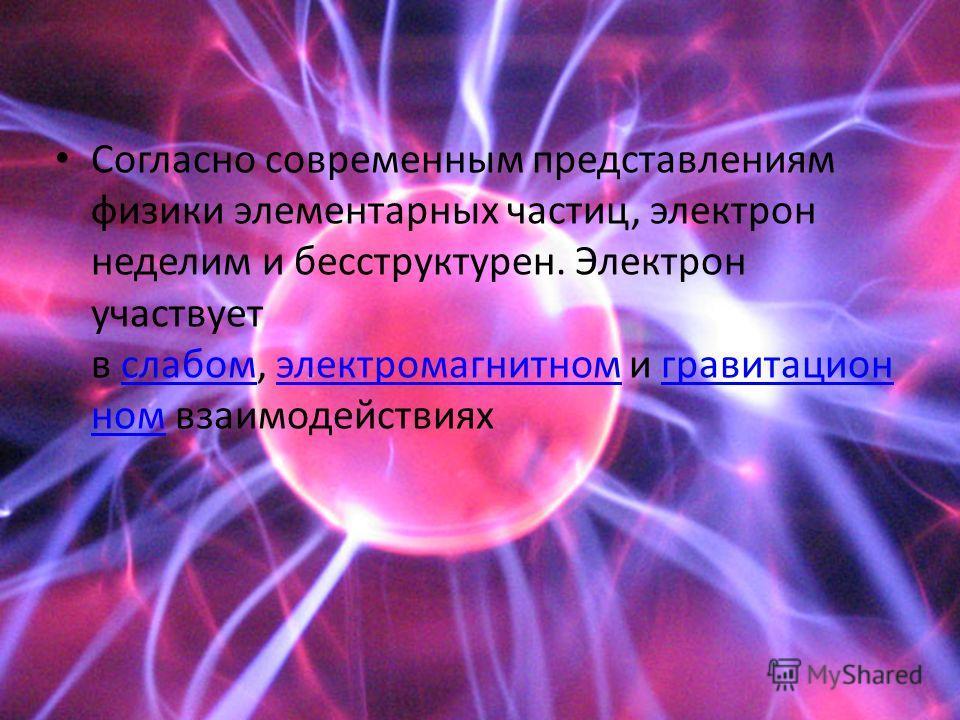 Согласно современным представлениям физики элементарных частиц, электрон неделим и бесструктурен. Электрон участвует в слабом, электромагнитном и гравитацион ном взаимодействияхслабомэлектромагнитномгравитацион ном