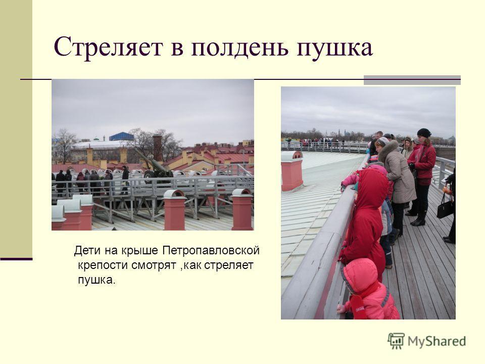 Стреляет в полдень пушка Дети на крыше Петропавловской крепости смотрят,как стреляет пушка.