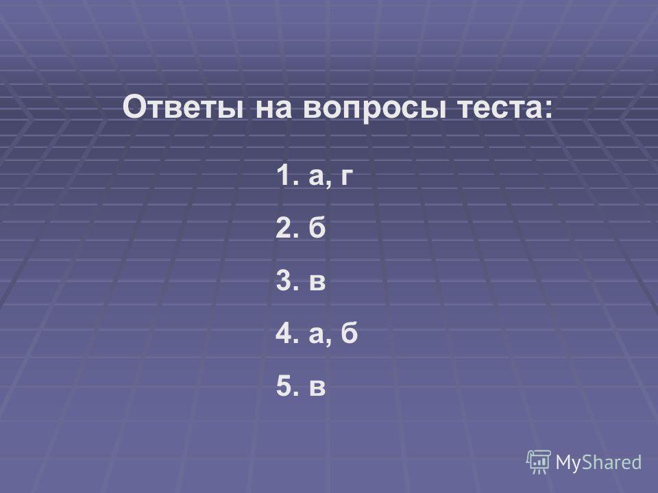 1. а, г 2. б 3. в 4. а, б 5. в Ответы на вопросы теста: