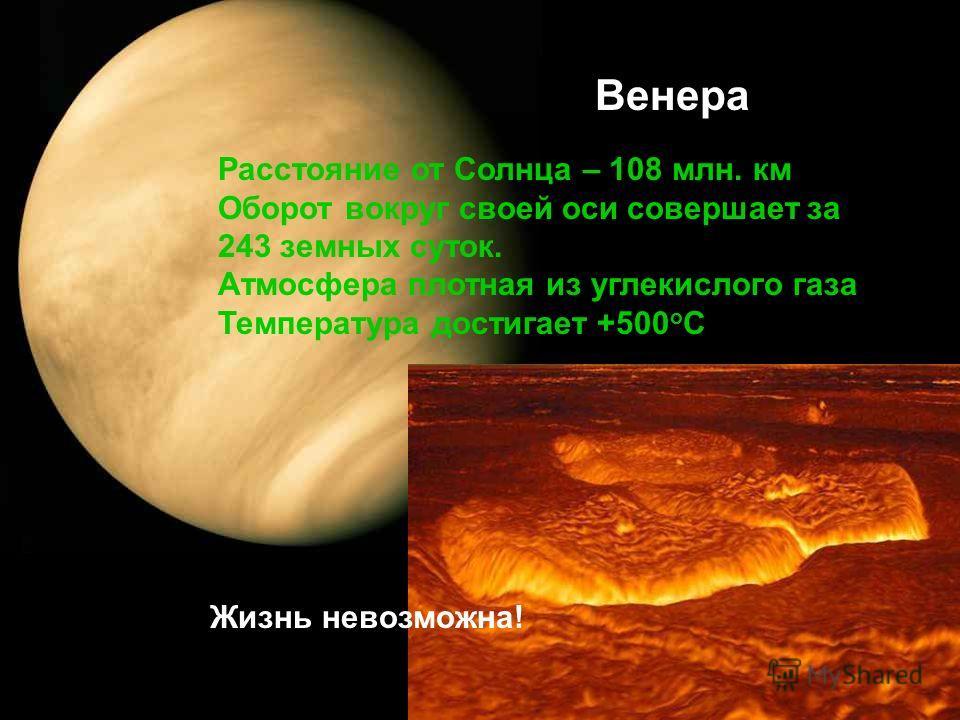 Венера Расстояние от Солнца – 108 млн. км Оборот вокруг своей оси совершает за 243 земных суток. Атмосфера плотная из углекислого газа Температура достигает +500 о С Жизнь невозможна!