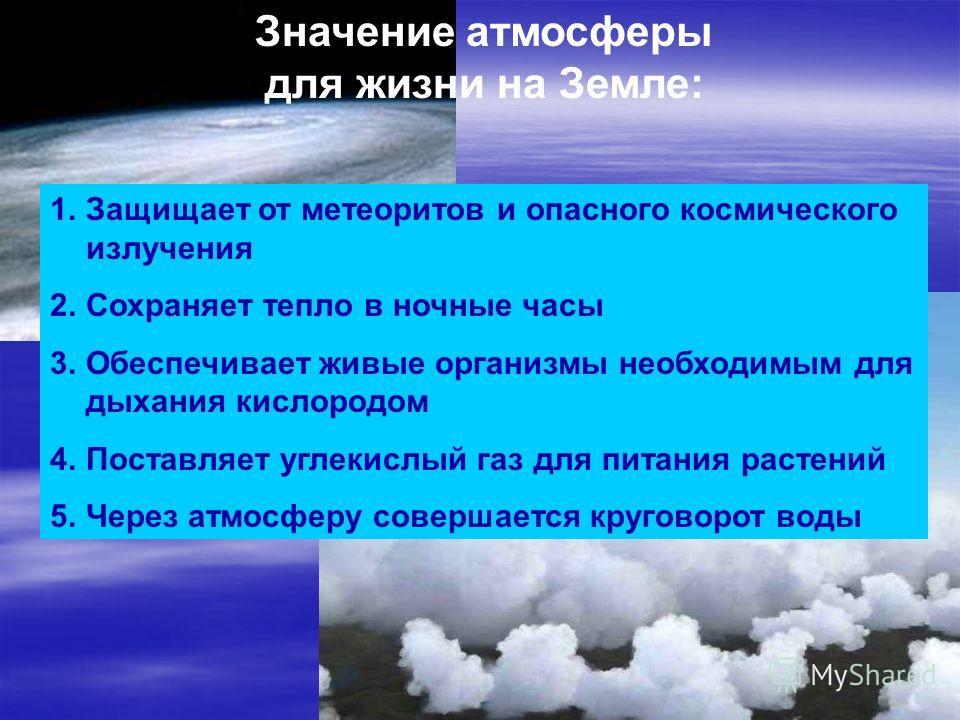 Значение атмосферы для жизни на Земле: 1.Защищает от метеоритов и опасного космического излучения 2.Сохраняет тепло в ночные часы 3.Обеспечивает живые организмы необходимым для дыхания кислородом 4.Поставляет углекислый газ для питания растений 5.Чер