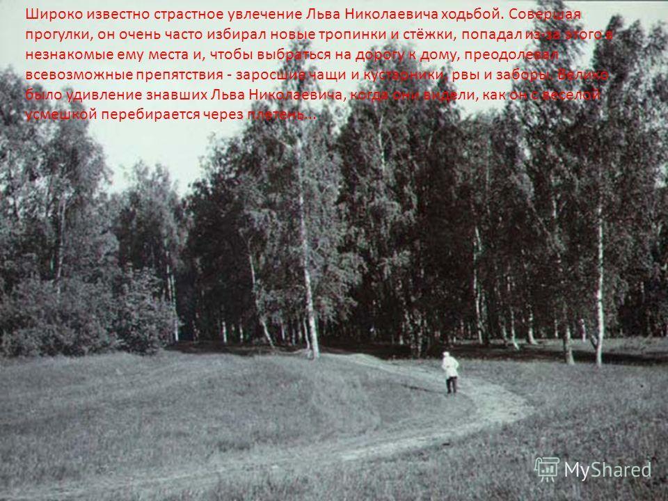 Широко известно страстное увлечение Льва Николаевича ходьбой. Совершая прогулки, он очень часто избирал новые тропинки и стёжки, попадал из-за этого в незнакомые ему места и, чтобы выбраться на дорогу к дому, преодолевал всевозможные препятствия - за