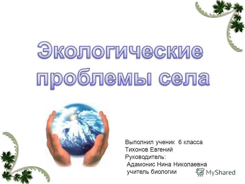 Выполнил ученик 6 класса Тихонов Евгений Руководитель: Адамонис Нина Николаевна учитель биологии