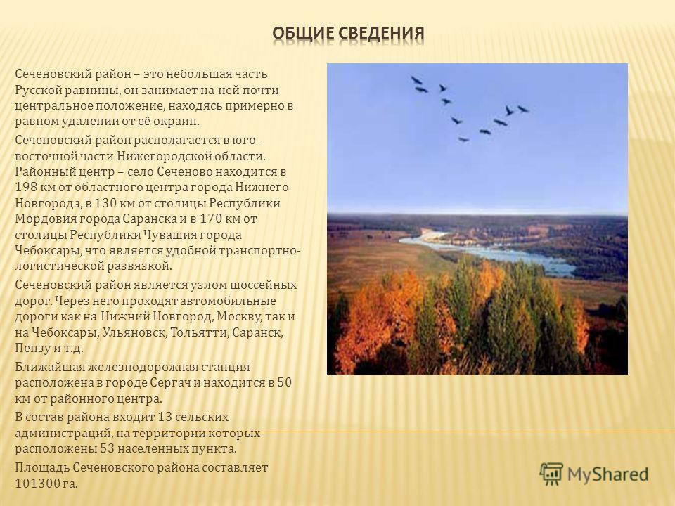 Сеченовский район – это небольшая часть Русской равнины, он занимает на ней почти центральное положение, находясь примерно в равном удалении от её окраин. Сеченовский район располагается в юго- восточной части Нижегородской области. Районный центр –
