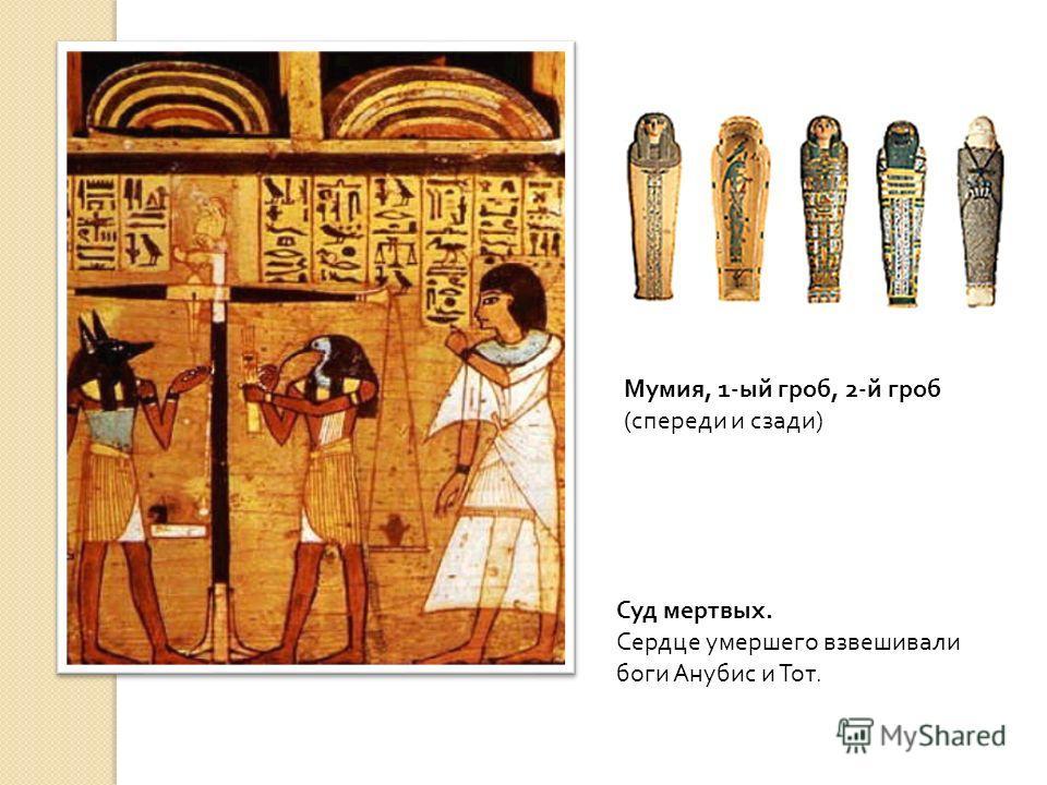 Суд мертвых. Сердце умершего взвешивали боги Анубис и Тот. Мумия, 1- ый гроб, 2- й гроб ( спереди и сзади )