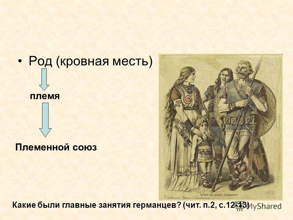 Род (кровная месть) племя Племенной союз Какие были главные занятия германцев? (чит. п.2, с.12-13)