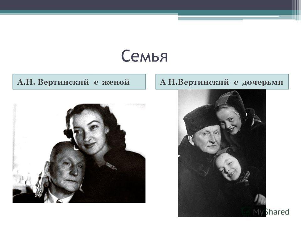 Семья А.Н. Вертинский с женойА Н.Вертинский с дочерьми