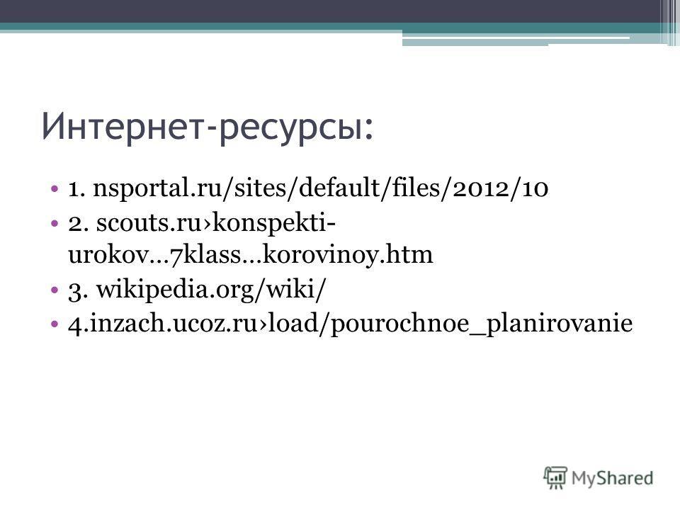 Интернет-ресурсы: 1. nsportal.ru/sites/default/files/2012/10 2. scouts.rukonspekti- urokov…7klass…korovinoy.htm 3. wikipedia.org/wiki/ 4.inzach.ucoz.ruload/pourochnoe_planirovanie