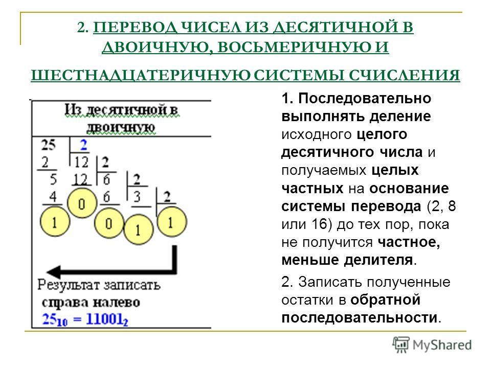 2. ПЕРЕВОД ЧИСЕЛ ИЗ ДЕСЯТИЧНОЙ В ДВОИЧНУЮ, ВОСЬМЕРИЧНУЮ И ШЕСТНАДЦАТЕРИЧНУЮ СИСТЕМЫ СЧИСЛЕНИЯ 1. Последовательно выполнять деление исходного целого десятичного числа и получаемых целых частных на основание системы перевода (2, 8 или 16) до тех пор, п