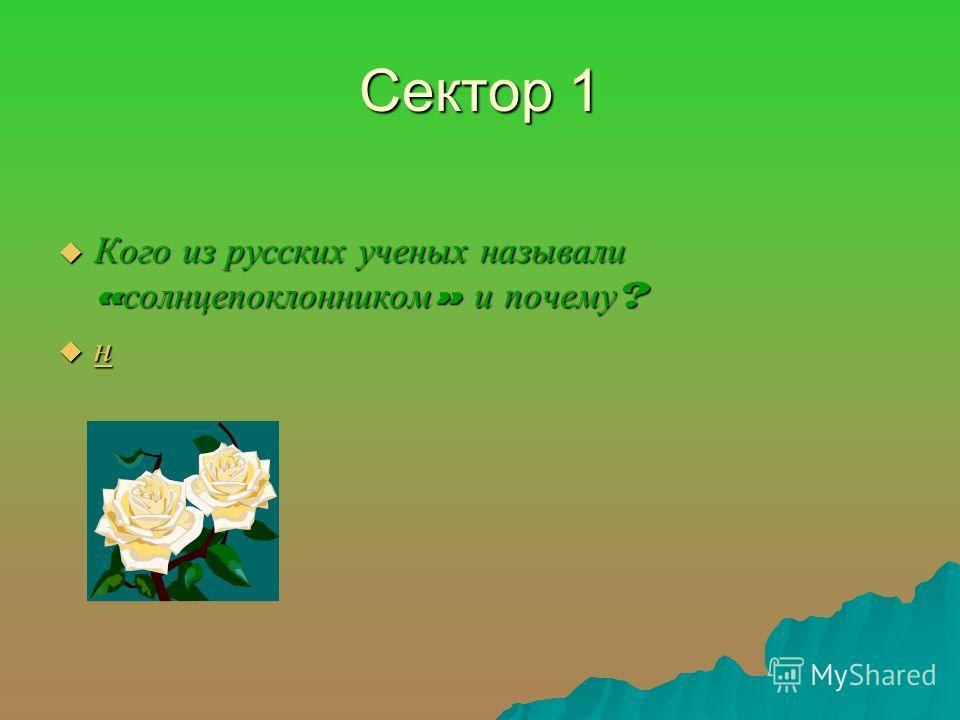 Сектор 1 Кого из русских ученых называли « солнцепоклонником » и почему ? Кого из русских ученых называли « солнцепоклонником » и почему ? н н