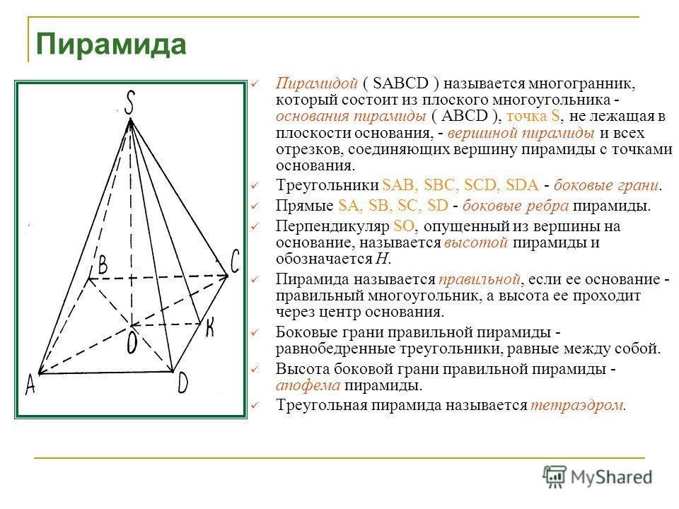 Правильная пирамида 1.Основание - правильный многоугольник 2.Вершина проецируется в центр многоугольника