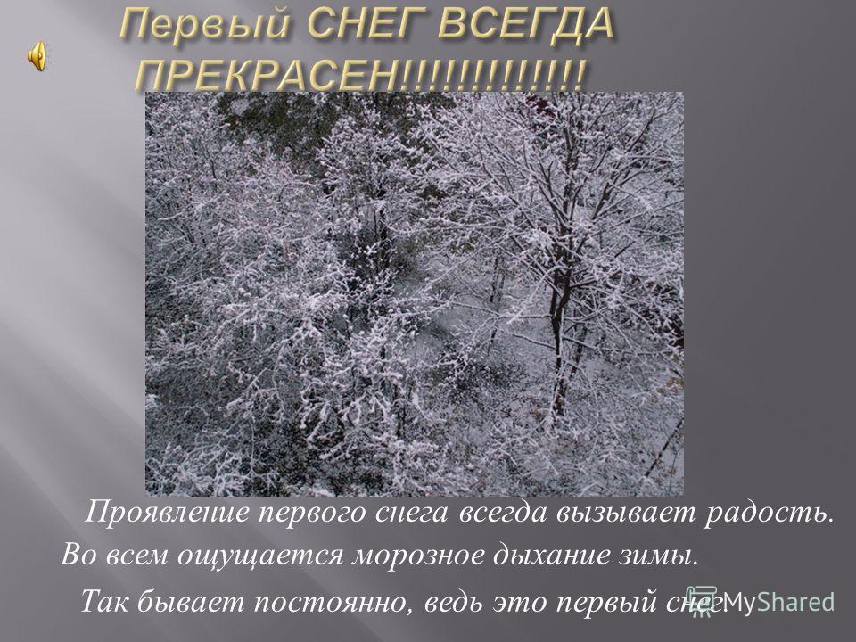 Проявление первого снега всегда вызывает радость. Во всем ощущается морозное дыхание зимы. Так бывает постоянно, ведь это первый снег.