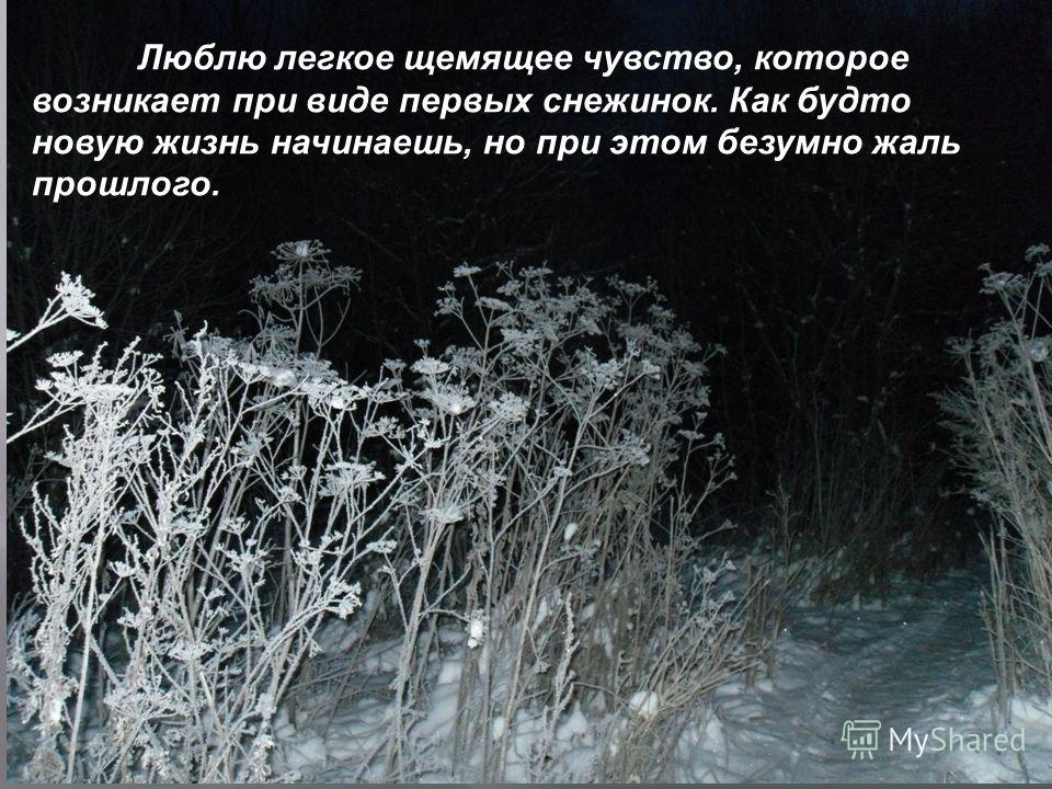 Люблю легкое щемящее чувство, которое возникает при виде первых снежинок. Как будто новую жизнь начинаешь, но при этом безумно жаль прошлого.