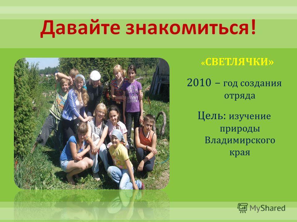 « СВЕТЛЯЧКИ » 2010 – год создания отряда Цель : изучение природы Владимирского края