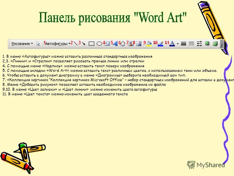 1. В меню «Автофигуры» можно вставить различные стандартные изображения 2,3. «Линии» и «Стрелки» позволяет рисовать прямые линии или стрелки 4. С помощью меню «Надпись» можно вставить текст поверх изображения 5. С помощью вкладки «Word Art» можно вст