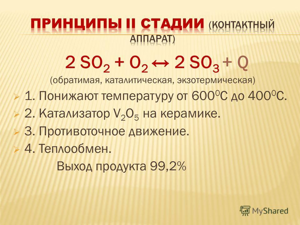 2 SO 2 + O 2 2 SO 3 + Q (обратимая, каталитическая, экзотермическая) 1. Понижают температуру от 600 0 С до 400 0 С. 2. Катализатор V 2 O 5 на керамике. 3. Противоточное движение. 4. Теплообмен. Выход продукта 99,2%