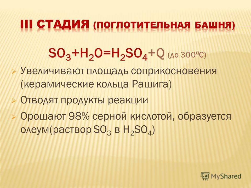 SO 3 +H 2 O=H 2 SO 4 +Q (до 300 0 C) Увеличивают площадь соприкосновения (керамические кольца Рашига) Отводят продукты реакции Орошают 98% серной кислотой, образуется олеум(раствор SO 3 в H 2 SO 4 )