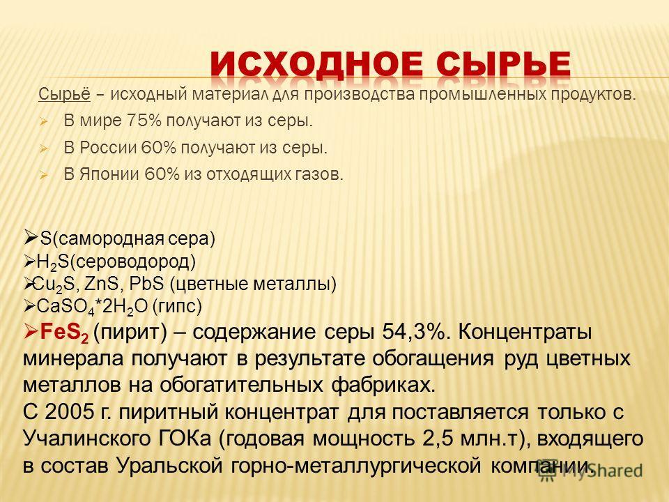 Сырьё – исходный материал для производства промышленных продуктов. В мире 75% получают из серы. В России 60% получают из серы. В Японии 60% из отходящих газов. S(самородная сера) H 2 S(сероводород) Cu 2 S, ZnS, PbS (цветные металлы) CaSO 4 *2H 2 O (г