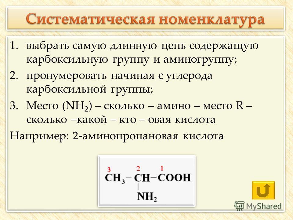 1.выбрать самую длинную цепь содержащую карбоксильную группу и аминогруппу; 2.пронумеровать начиная с углерода карбоксильной группы; 3.Место (NH 2 ) – сколько – амино – место R – сколько –какой – кто – овая кислота Например: 2-аминопропановая кислота