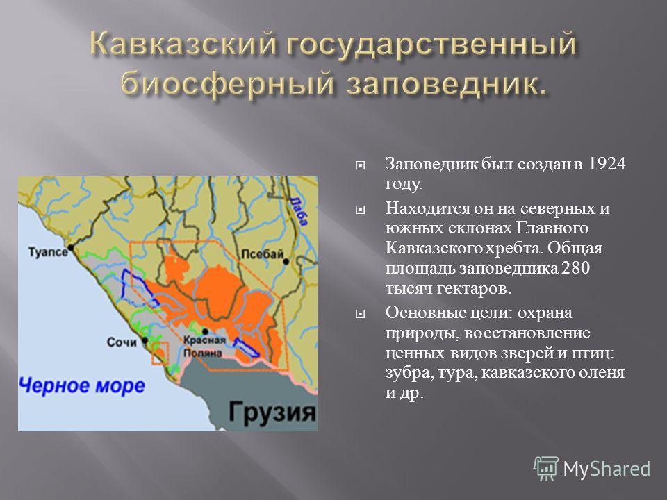 Заповедник был создан в 1924 году. Находится он на северных и южных склонах Главного Кавказского хребта. Общая площадь заповедника 280 тысяч гектаров. Основные цели : охрана природы, восстановление ценных видов зверей и птиц : зубра, тура, кавказског