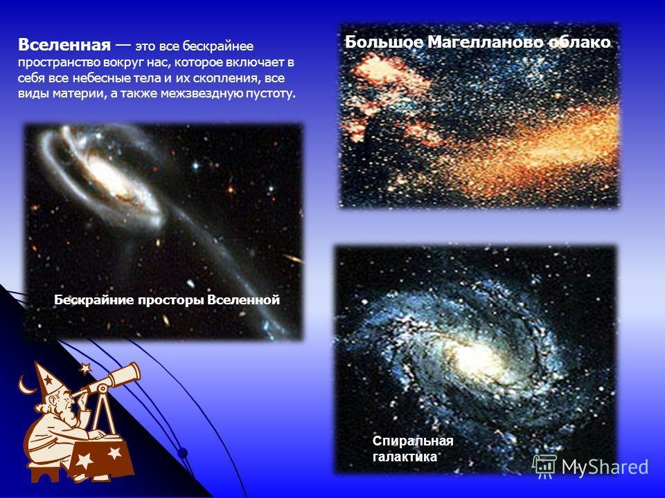 Бескрайние просторы Вселенной Спиральная галактика Большое Магелланово облако Вселенная это все бескрайнее пространство вокруг нас, которое включает в себя все небесные тела и их скопления, все виды материи, а также межзвездную пустоту.