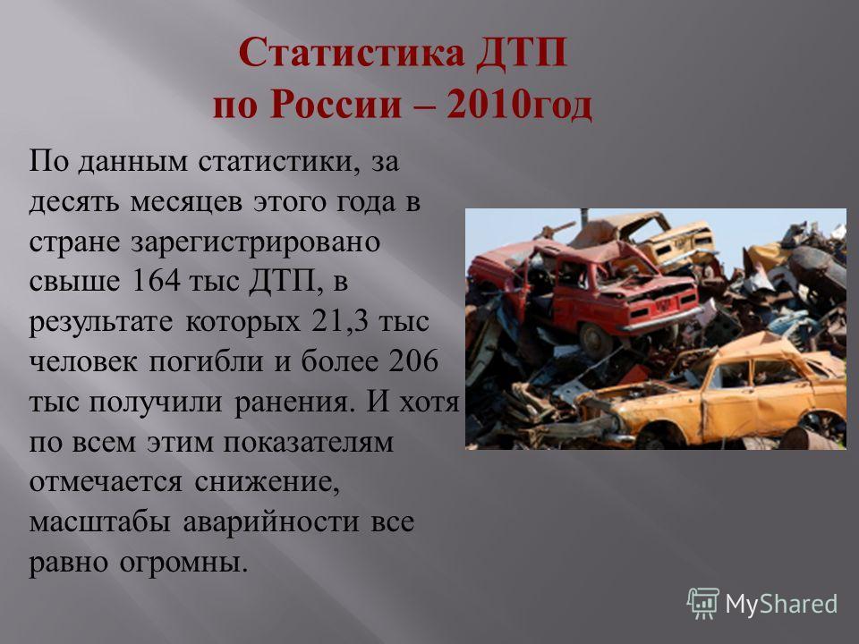 Статистика ДТП по России – 2010год По данным статистики, за десять месяцев этого года в стране зарегистрировано свыше 164 тыс ДТП, в результате которых 21,3 тыс человек погибли и более 206 тыс получили ранения. И хотя по всем этим показателям отмечае