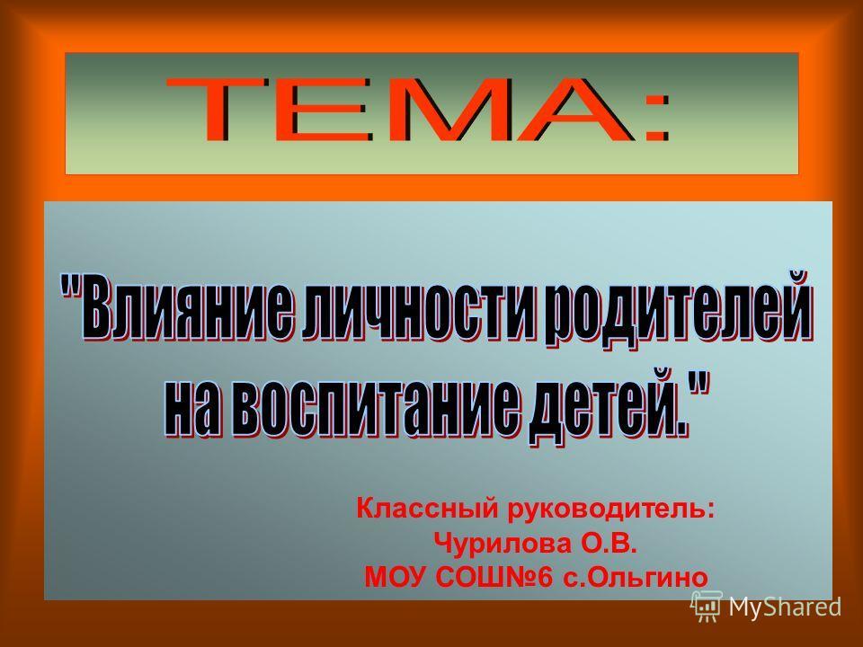 Классный руководитель: Чурилова О.В. МОУ СОШ6 с.Ольгино