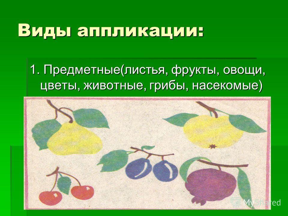Виды аппликации: 1. Предметные(листья, фрукты, овощи, цветы, животные, грибы, насекомые)
