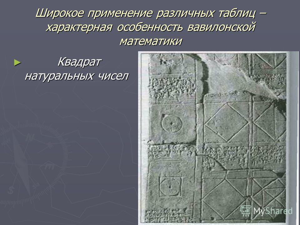 Широкое применение различных таблиц – характерная особенность вавилонской математики Квадрат натуральных чисел Квадрат натуральных чисел