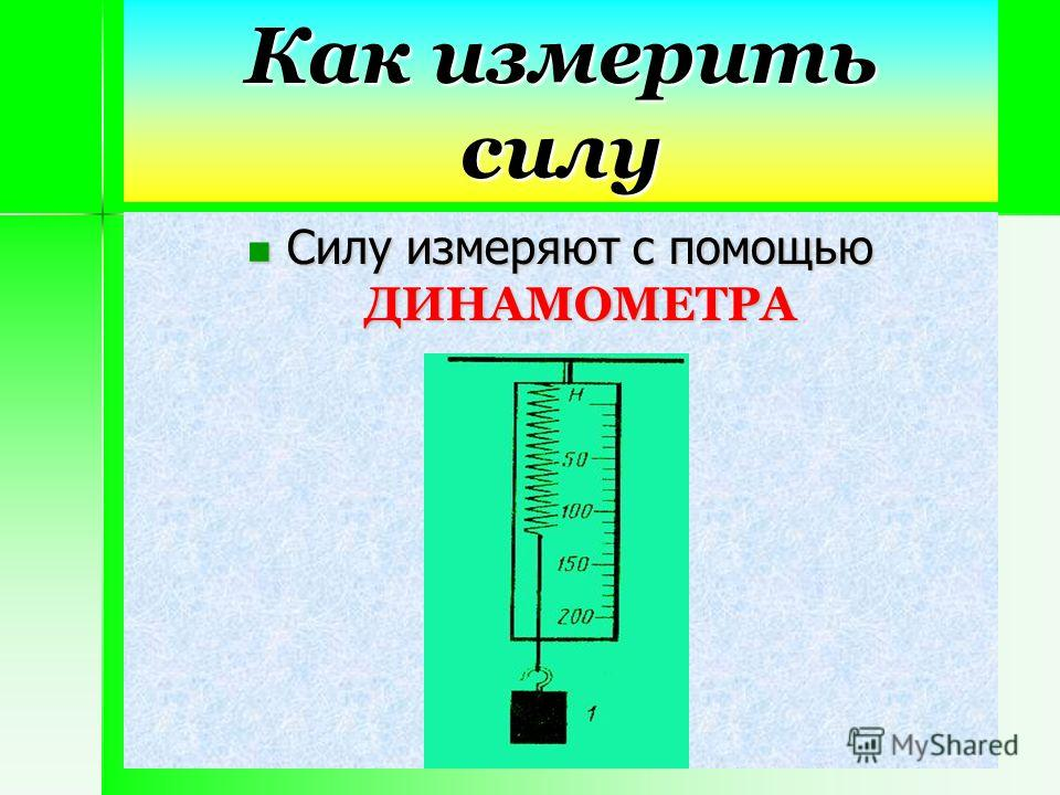 Как измерить силу Силу измеряют с помощью ДИНАМОМЕТРА Силу измеряют с помощью ДИНАМОМЕТРА