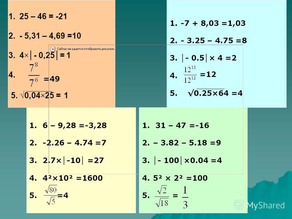 1.25 – 46 = -21 2.- 5,31 – 4,69 =10 3.4×- 0,25= 1 4. 5. 0,04×25 = 1 =49 1.-7 + 8,03 =1,03 2.- 3.25 – 4.75 =8 3. - 0.5 × 4 =2 4. 5. 0.25×64 =4 =12 1. 6 – 9,28 =-3,28 2. -2.26 – 4.74 =7 3. 2.7× -10 =27 4. 4²×10² =1600 5. =4 1. 31 – 47 =-16 2.– 3.82 – 5