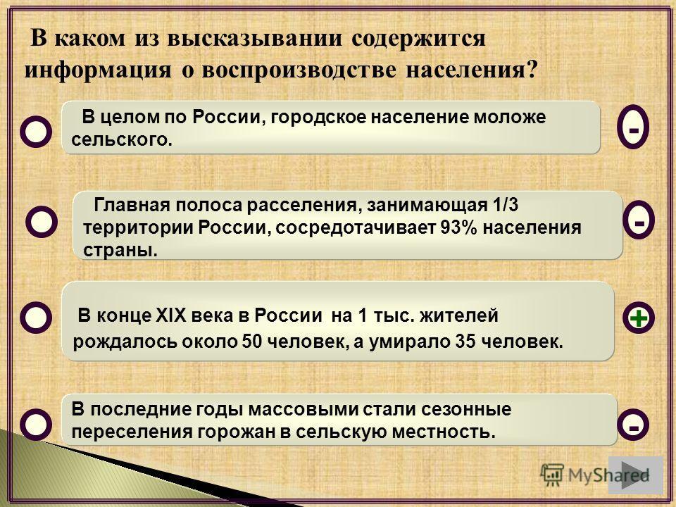 В каком из высказывании содержится информация о воспроизводстве населения? В целом по России, городское население моложе сельского. Главная полоса расселения, занимающая 1/3 территории России, сосредотачивает 93% населения страны. В конце XIX века в