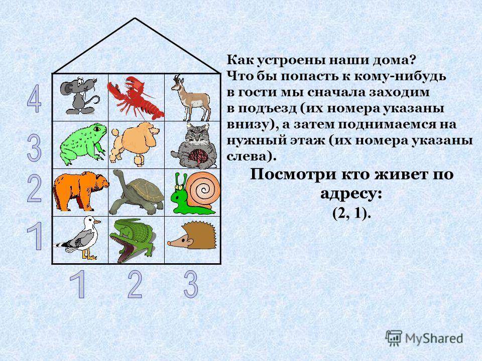 Как устроены наши дома? Что бы попасть к кому-нибудь в гости мы сначала заходим в подъезд (их номера указаны внизу), а затем поднимаемся на нужный этаж (их номера указаны слева). Посмотри кто живет по адресу: (2, 1).