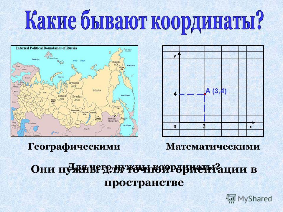 Они нужны для точной ориентации в пространстве ГеографическимиМатематическими Для чего нужны координаты?