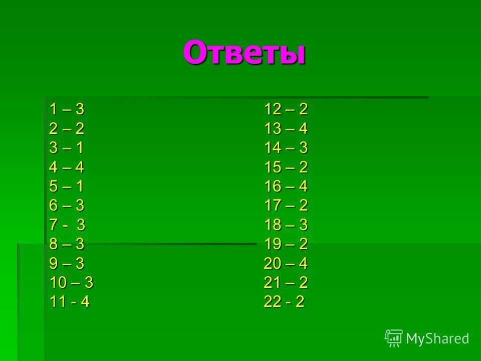 Ответы 1 – 3 2 – 2 3 – 1 4 – 4 5 – 1 6 – 3 7 - 3 8 – 3 9 – 3 10 – 3 11 - 4 12 – 2 13 – 4 14 – 3 15 – 2 16 – 4 17 – 2 18 – 3 19 – 2 20 – 4 21 – 2 22 - 2