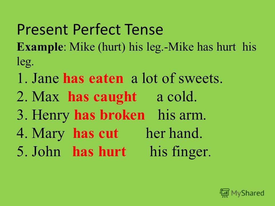 Present Perfect Tense Example: Mike (hurt) his leg.-Mike has hurt his leg. 1. Jane … a lot of sweets. (eat) 2. Max … a cold. (catch) 3. Henry … his arm. (break) 4. Mary … her hand. (cut) 5. John … his finger. (hurt)