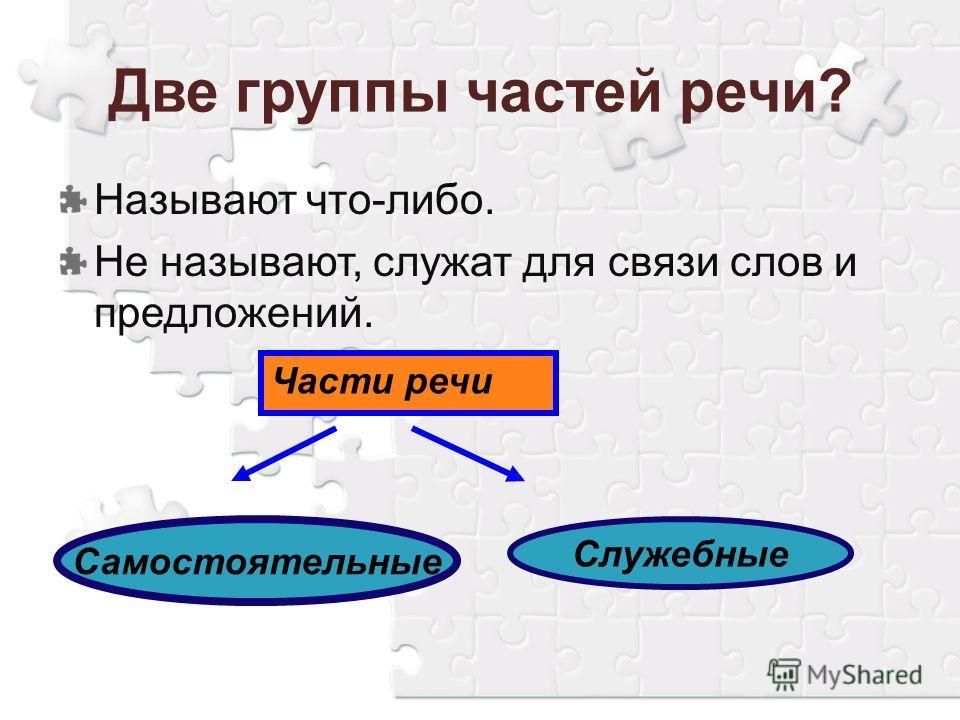 Две группы частей речи? Части речи Самостоятельные Служебные