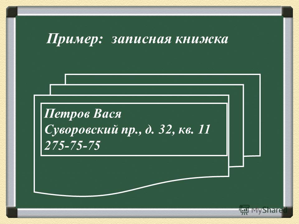 Пример: записная книжка Петров Вася Суворовский пр., д. 32, кв. 11 275-75-75