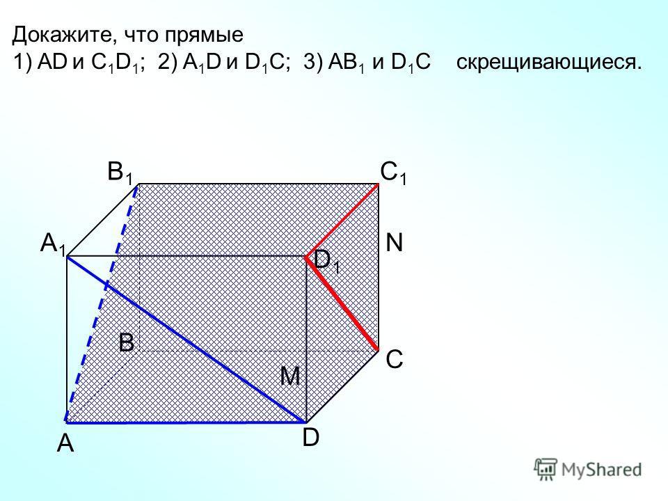 А D С В B1B1 С1С1 D1D1 А1А1 Докажите, что прямые 1) AD и C 1 D 1 ; 2) A 1 D и D 1 C; 3) AB 1 и D 1 C скрещивающиеся. N M