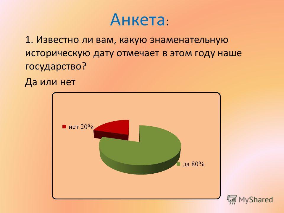 Анкета : 1. Известно ли вам, какую знаменательную историческую дату отмечает в этом году наше государство? Да или нет